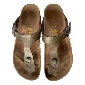Birkenstock Gizeh Brown Cork Sole Sandals 37